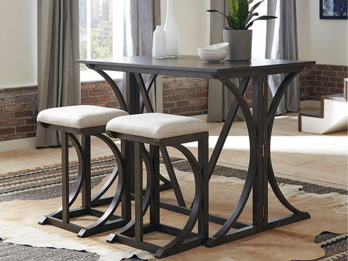 Black 3 Pc Folding Bar Height Dining Set