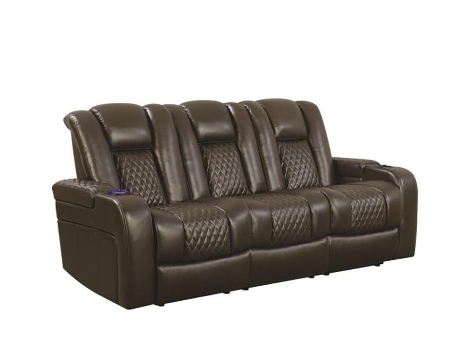 Delangelo Brown Dual Recliner Sofa