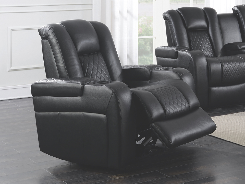 Delangelo Black Dual Power Recliner Sofa